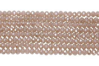 Chinese Crystal Polished 8x6mm Faceted Rondel - Pink Sparkle
