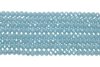 Chinese Crystal Polished 8x6mm Faceted Rondel - Opaque Baby Blue