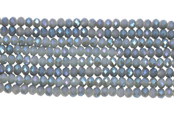 Chinese Crystal Polished 8x6mm Faceted Rondel - Grey AB