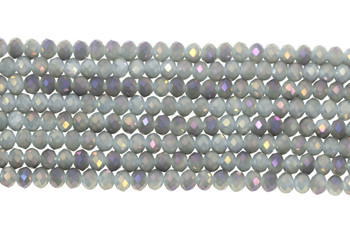 Chinese Crystal Polished 8x6mm Faceted Rondel - Warm Grey AB