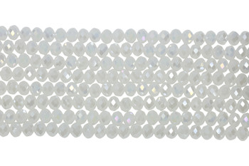 Chinese Crystal Polished 8x6mm Faceted Rondel - White AB
