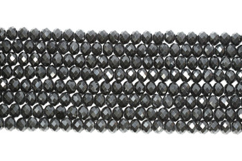 Glass Crystal Polished 8x6mm Faceted Rondel - Opaque Black