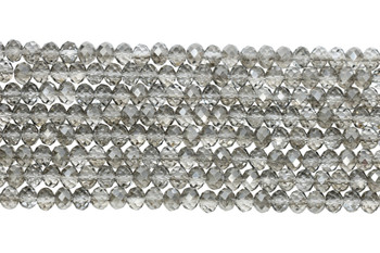Chinese Crystal Polished 8x6mm Faceted Rondel - Grey Crystal