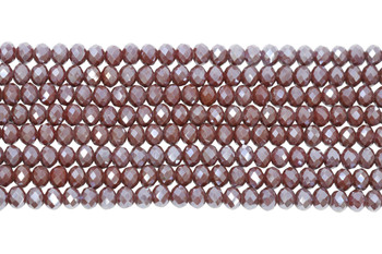 Chinese Crystal Polished 8x6mm Faceted Rondel - Brown Berry