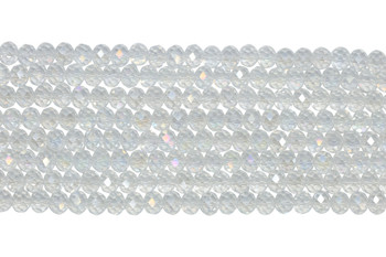 Chinese Crystal Polished 8x6mm Faceted Rondel - Crystal AB