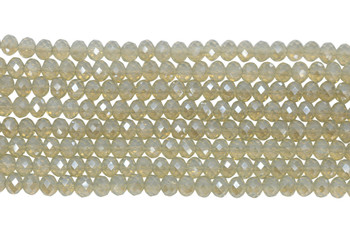 Chinese Crystal Polished 8x6mm Faceted Rondel - Cloudy Lace