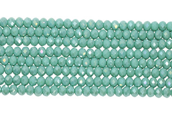 Chinese Crystal Polished 8x6mm Faceted Rondel - Opaque Turquoise AB