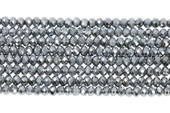Chinese Crystal Polished 8x6mm Faceted Rondel - Platinum