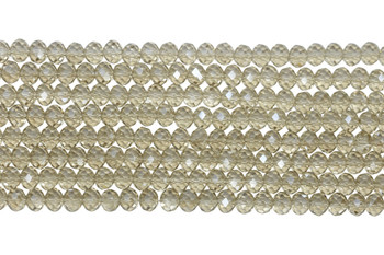 Chinese Crystal Polished 8x6mm Faceted Rondel - Transparent Light Topaz