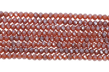 Chinese Crystal Polished 8x6mm Faceted Rondel - Dusty Coral