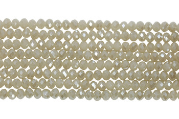Chinese Crystal Polished 8x6mm Faceted Rondel - White Topaz