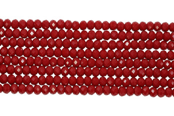 Chinese Crystal Polished 8x6mm Faceted Rondel - Opaque Red