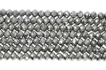 Chinese Crystal Polished 9x7mm Faceted Rondel - Platinum