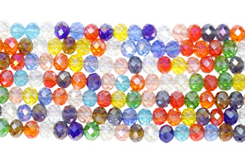 Chinese Crystal Polished 9x7mm Faceted Rondel - Multi Color
