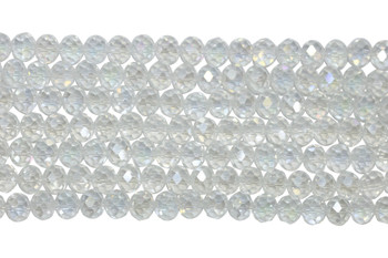 Chinese Crystal Polished 9x7mm Faceted Rondel - Crystal AB