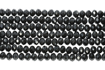 Glass Crystal Polished 9.5x7.5mm Faceted Rondel - Opaque Black