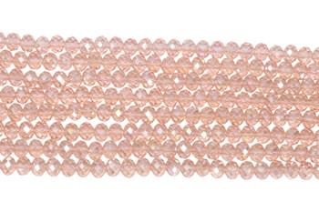 Chinese Crystal Polished 8x6mm Faceted Rondel - Transparent Pink AB