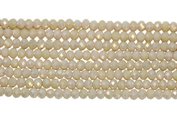 Chinese Crystal Polished 8x6mm Faceted Rondel - Light Blush AB