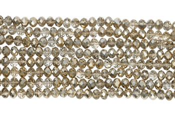 Chinese Crystal Polished 8x6mm Faceted Rondel - Gold Champagne