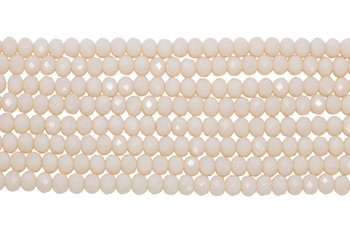 Chinese Crystal Polished 8x6mm Faceted Rondel - Opaque Light Baby Pink