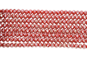 Chinese Crystal Polished 8x6mm Faceted Rondel - Red Sparkle