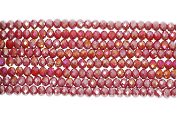 Glass Crystal Polished 8x6mm Faceted Rondel - Fuchsia Berry Satin Half Plated