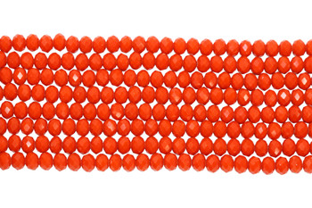 Glass Crystal Polished 7.5x5.5mm Faceted Rondel - Opaque Dark Orange