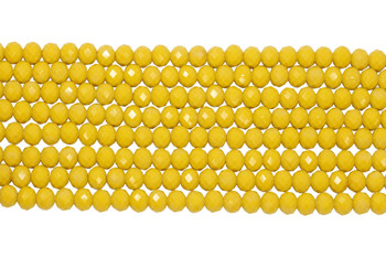 Chinese Crystal Polished 8x6mm Faceted Rondel - Opaque Yellow