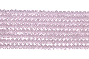 Chinese Crystal Polished 8x6mm Faceted Rondel - Transparent Light Pink