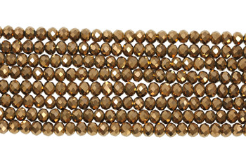 Chinese Crystal Polished 8x6mm Faceted Rondel - Bronze