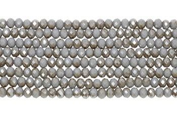 Chinese Crystal Polished 8x6mm Faceted Rondel - Grey/Topaz Sparkle