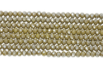 Chinese Crystal Polished 8x6mm Faceted Rondel - Olive