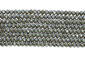 Chinese Crystal Polished 8x6mm Faceted Rondel - Dark Olive
