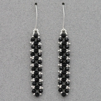 Embellished Right Angle Weave Earrings - Black and Silver