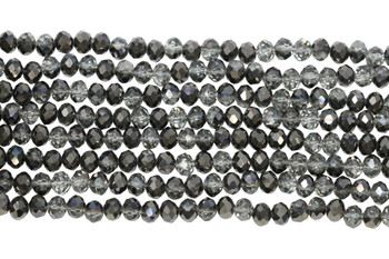 Chinese Crystal Polished 8x6mm Faceted Rondel - Dark Grey Crystal