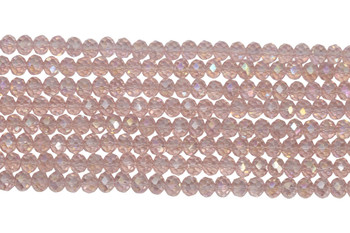 Chinese Crystal Polished 8x6mm Faceted Rondel - Transparent Light Pink AB