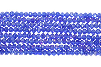 Chinese Crystal Polished 8x6mm Faceted Rondel - Blue AB