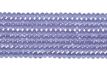 Chinese Crystal Polished 8x6mm Faceted Rondel - Transparent Lilac