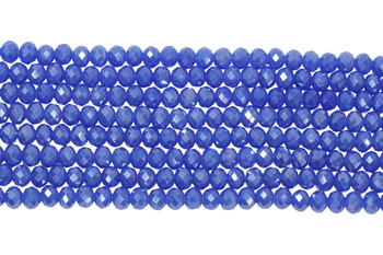 Chinese Crystal Polished 8x6mm Faceted Rondel - Blue Sparkle