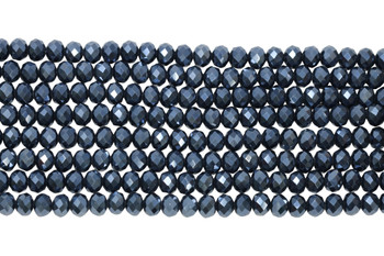 Glass Crystal Polished 8x6mm Faceted Rondel - Full Plated Midnight Blue