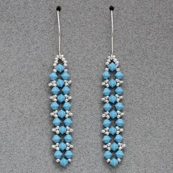 Embellished Right Angle Weave Earrings - Turquoise and Silver