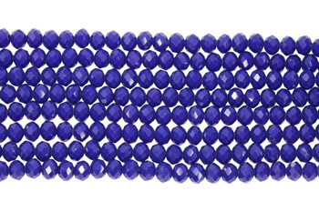 Glass Crystal Polished 8x6mm Faceted Rondel - Opaque Royal Blue