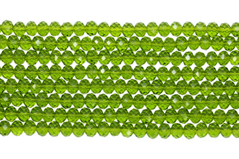 Chinese Crystal Polished 8x6mm Faceted Rondel - Peridot