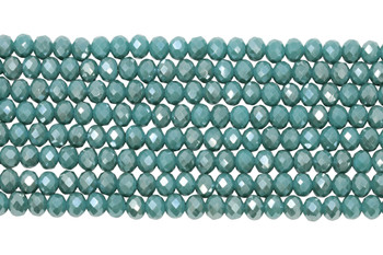 Chinese Crystal Polished 8x6mm Faceted Rondel - Caribbean Blue Sparkle