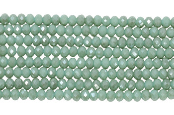 Chinese Crystal Polished 8x6mm Faceted Rondel - Light Seafoam