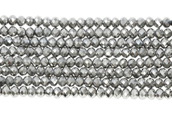 Chinese Crystal Polished 8x6mm Faceted Rondel - Dark Platinum
