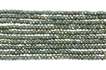 Chinese Crystal Polished 2mm Faceted Rondel - Green Iris