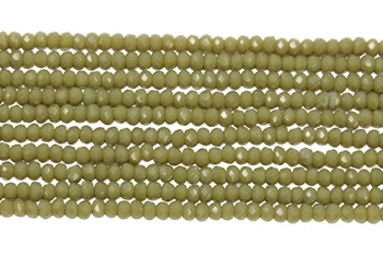 Chinese Crystal Polished 2mm Faceted Rondel - Olive