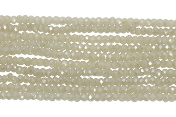 Chinese Crystal Polished 2mm Faceted Rondel - Cream Sparkle