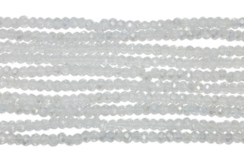 Chinese Crystal Polished 2mm Faceted Rondel - Crystal